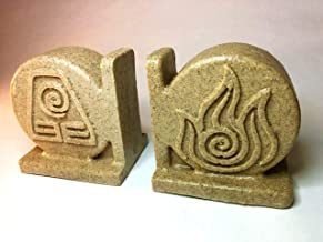 Avatar: The Last Airbender Bookend Set Earth, Water, Air, Fire Elements and benders (Double Sided) Coaster Holders