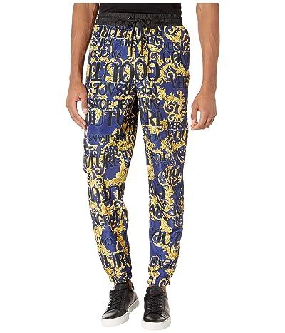 Versace Jeans Couture Logo Baroque Printed Nylon Jogger (Blue/Gold) Men