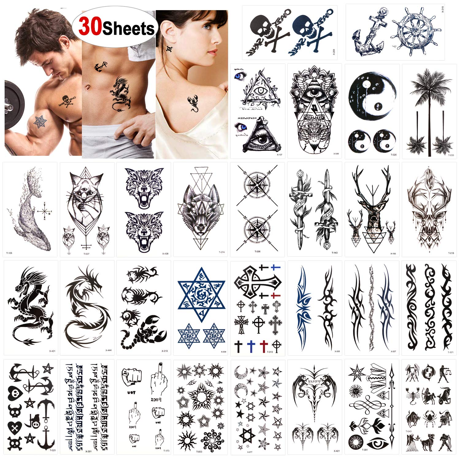 Konsait Temporary Tattoos Dealing full price reduction for Adult Men W Factory outlet Kids Women 30 Sheets