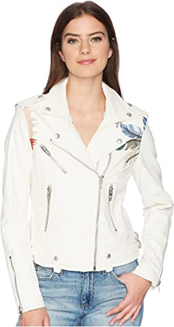 Blank NYC Vegan Leather Jacket with Palm Tree Embroidery in Palm Breeze