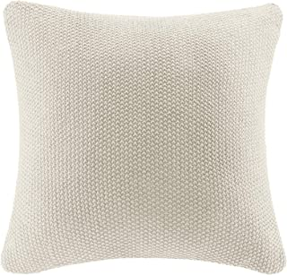 Ink+Ivy Bree Cable Knit Euro Décor Throw Pillow Cover, Casual Square Decorative Pillow Case for Sofa, Bed, Outdoor Chair, 26x26, Ivory
