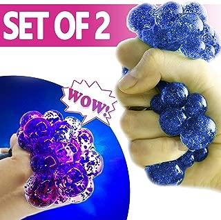 MorganProducts Brison New Set -of -2 Led Anti Stress Ball- Squishy Light up Ball Anti-Stress Toys for Kids-Mesh Stress Ball-Grape Ball-DNA Ball - Prime Slime Stress Ball - ADHD Fidget Toys