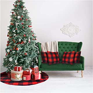 ATLIN Buffalo Plaid Christmas Tree Skirt with 4 Cushion Covers - Larger 3 Inch Red and Black Checks for a Traditional Look - Machine Wash and Dry – 36 Inch Skirt and 18 Inch Cushion Covers