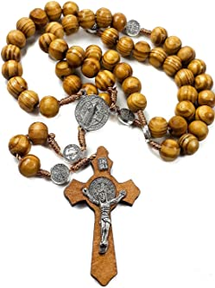 Rosario de San Benito de madera de olivo con medalla católi