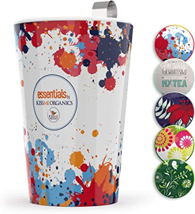 Steep & Strain Ceramic Tea Mug - Insulated Cup with Tea Infuser - Available in 8 Patterns - Comes with Free Silicone Lid - Paint Splatter