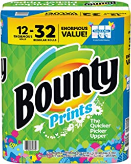 Bounty Select-A-Size Paper Towels, Print, 12 Enormous Rolls=32