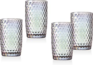 Highball Glasses Beverage Glass Cup Halo by Godinger – Iridescent - 13 oz – Set of 4