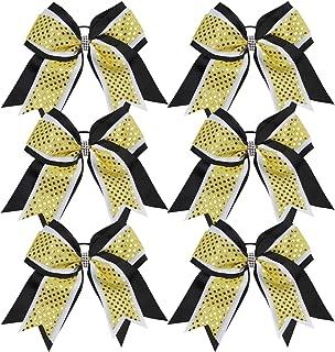Cheerleader Bows 8 Inch 3 Layers 6 Pcs Ponytail Holder Jumbo Cheerleading Bows Hair Elastic Hair Tie for High School College (Black/White/Yellow)