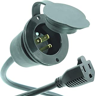 Journeyman-Pro 15 Amp 125V AC Power Inlet Port Plug with Integrated 20