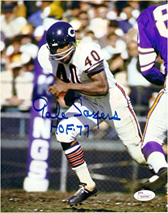 c9f31047d09 Gale Sayers Chicago Bears Autographed 8x10 Football Photo 2 With HOF  Inscription JSA