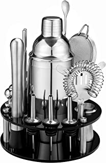 18 Piece Cocktail Shaker Set with Rotating Stand,Gifts for Men Dad Grandpa,Stainless Steel Bartender Kit Bar Tools Set for...