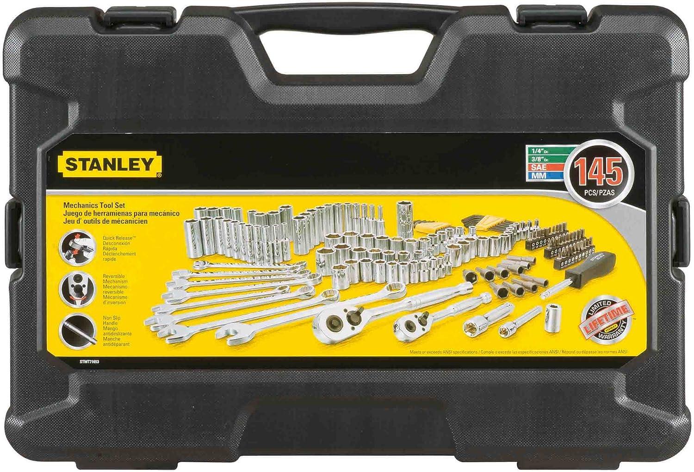 Stanley 123 Piece Mechanics Tool Set Black Chrome Standard SAE Metric Hard Case