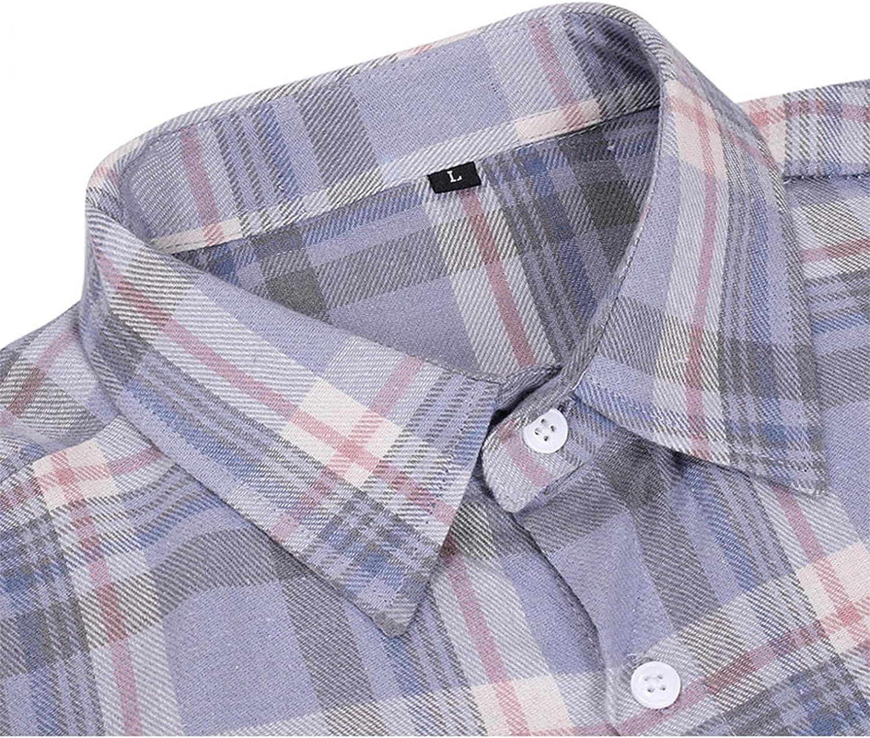 VEKDONE Men's Button Down Regular Fit Long Sleeve Plaid Striped Casual Shirts Fashion Turn Down Collar Poplin Shirt