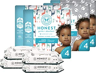 The Honest Company Super Duper Club Box with True Absorb Diapers & 288ct Designer Wipes, Pandas & Safari, Size 4, 92 Count
