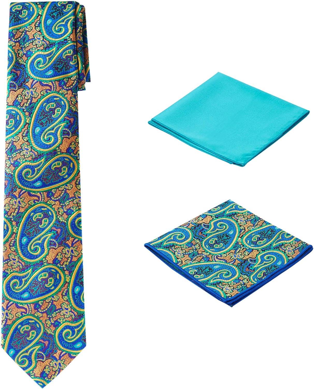 Men's Woven Paisley Regular Length Neck Tie with 2 Handkerchief Pocket Squares Hanky Set - Tan Dark Plum Teal
