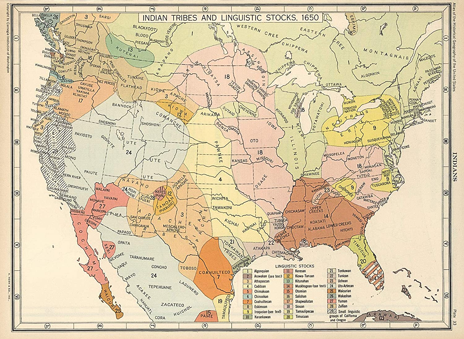 Native American Us Map Amazon.com: 🔵 1650 US Map Native American Indian Tribes Languages