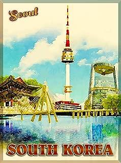 American Magnet MAGNET Seoul South Korea Korean Asia Asian City Travel Advertisement Art Magnet Print