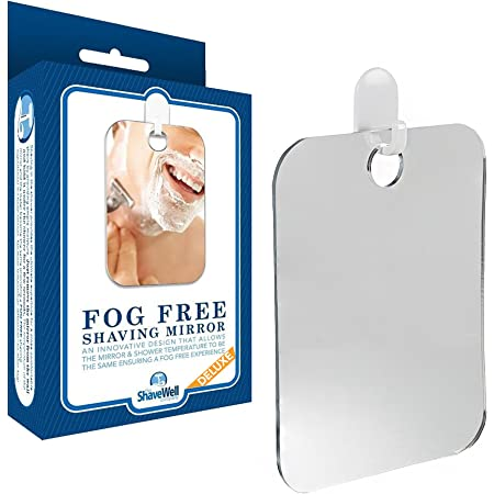 The Shave Well Company Deluxe Anti-Fog Shower Mirror | Fogless Bathroom Shaving Mirrors | 33% Larger Than Original | Long-Lasting Removable Adhesive Hook | 2-Pack
