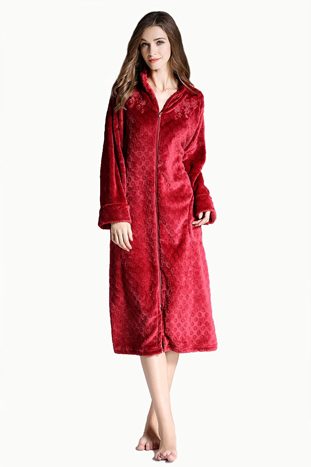 YOUAREFACNY Women's Plush Soft Warm Fleece Robe Pajama Front Zip Embroidery NightRobe Bathrobe