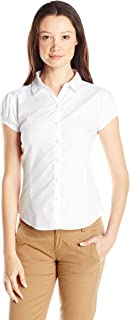IZOD Junior's Uniform Short Sleeve Y Neck Woven Top