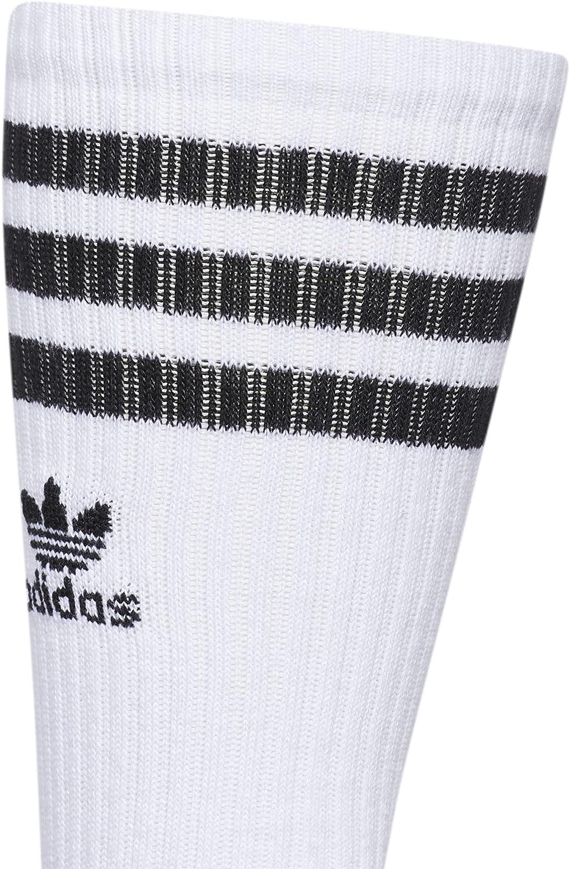 adidas Originals Roller Crew Socks (1-Pair),White/Black/Heather Aluminum,L