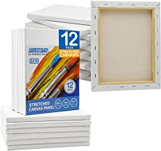 FIXSMITH Stretched White Blank Canvas- 8x10 Inch,Bulk Pack of 12,Primed,100% Cotton,5/8 Inch Profile of Super Value Pack for Acrylics,Oils & Other Painting Media.