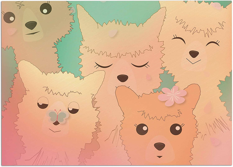 KESS InHouse GT1008ADM02 Graphic Tabby Spring Alpacas Pastel Animals Dog Place Mat, 24  x 15