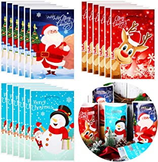 90 Pieces Christmas Bags Plastic Bags Merry Christmas Santa Claus Elk Snowman Candy Treat Bags for Christmas Party Favor