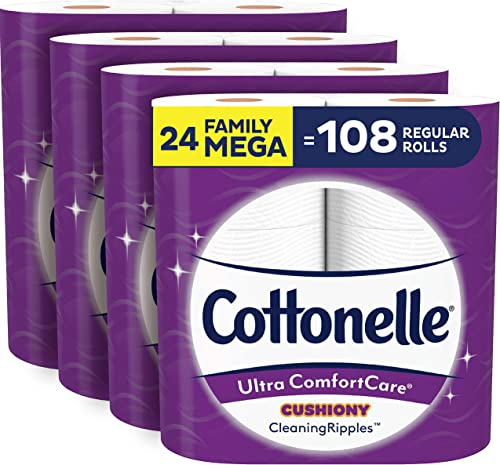 Cottonelle Ultra ComfortCare Soft Toilet Paper with Cushiony Cleaning Ripples, 24 Family Mega Rolls, Bath Tissue (24 ...