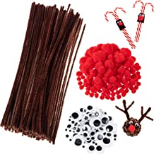 Whaline 350 Pcs Christmas Pipe Cleaners Set including 100 Pcs Brown Craft Chenille Stems, 100 Pcs Multi Sized Wiggle Googly Eyes and 150 Pcs Pompoms for Christmas Craft Party DIY Art Supplies