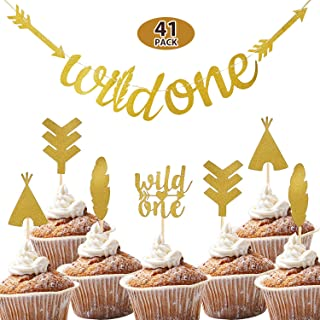 41 Pieces Gold Glitter Wild One Cake Topper Arrow Feather Toppers Boho Teepee Cake Toppers and Gold Wild One Banner for Baby First Birthday Party Decorations
