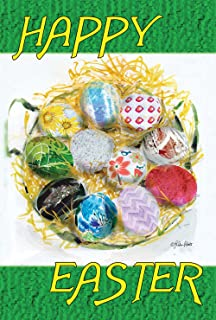 Toland Home Garden Happy Easter Nest 12.5 x 18 Inch Decorative Painted Egg Basket Spring Holiday Garden Flag