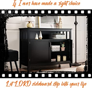 LOKO Buffet Cabinet with Storage, Freestanding Kitchen Cabinet with Adjustable Shelf, Storage Sideboard for Kitchen, Dining R