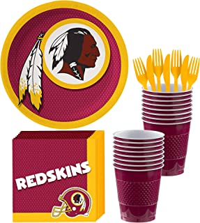 Party City Washington Redskins Party Supplies for 18 Guests, Include Paper Plates, Paper Napkins, Cups, and Utensils