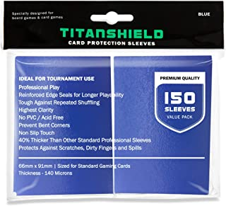 TitanShield (150 Sleeves /Blue Standard Size Board Game Trading Card Sleeves Deck Protector for Magic The Gathering MTG, P...
