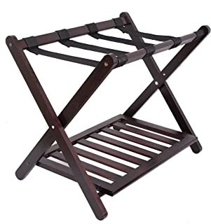 BirdRock Home Luggage Rack Stand with Shoe Shelf - Compact Folding Design - Bedroom Guest Room Suitcase Home Organization - Stable Durable Suitcases Racks Foldable Baggage Holder - Bamboo Walnut Color