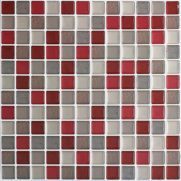 HyFanStr Peel And Stick Backsplash 3D Mosaic Tile Stickers Wall Sticker Home Decor For Kitchen Bathroom 9 26 X 9 26 Pack Of 4