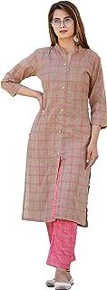 Oxyco Jaipuri Cotton checkered Kurta Pant Set for women's