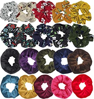 SelfTek 20Pack Hair Scrunchies Set 10Pcs Chiffon Hair Bobbles Scrunchy and 10Pcs Velvet Hair Ties Multi Color Elastic Hair Bands