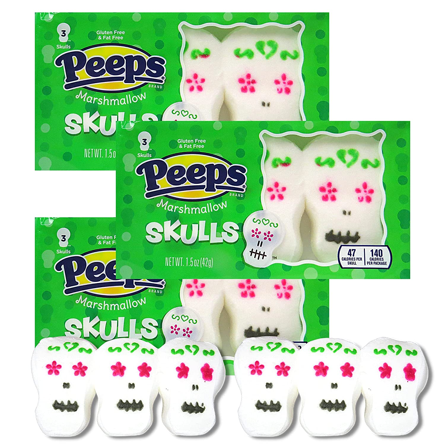 Day of the Dead Sugar Skull Halloween Peeps Marshmallow Candy, Peep Marshmallows Bulk Party Favors, Cupcake, Cake, Brownie or Dessert Topper Decorations, Pack of 3, 3 Skulls in Each