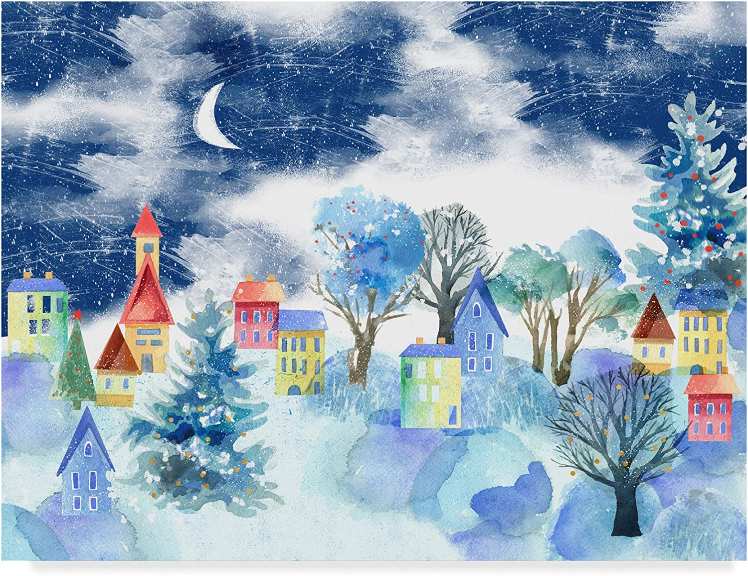Trademark Fine Art Winter Village Art by Lisa Powell brown, 14x19