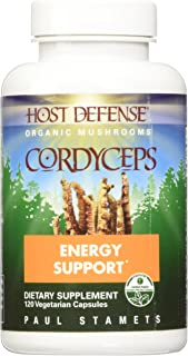 Host Defense, Cordyceps Capsules, Energy and Stamina Support, Daily Dietary Supplement, USDA Organic, Gluten Free, 120 vegetarian capsules (60 servings)