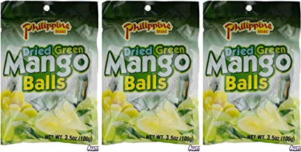 Philippine Brand Dried Green Mango Balls Chewy Fruit Snack, 3 Pack, 3.53-Ounces Pouches