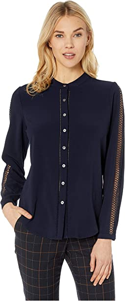 French Crepe Woven Sleeve Button Down Blouse