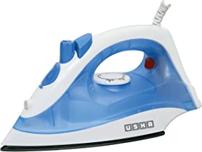 Usha Steam Pro SI 3713, 1300 W Steam Iron, Powerful steam Output up to 18 g/min, Non-Stick Soleplate (White & Blue)