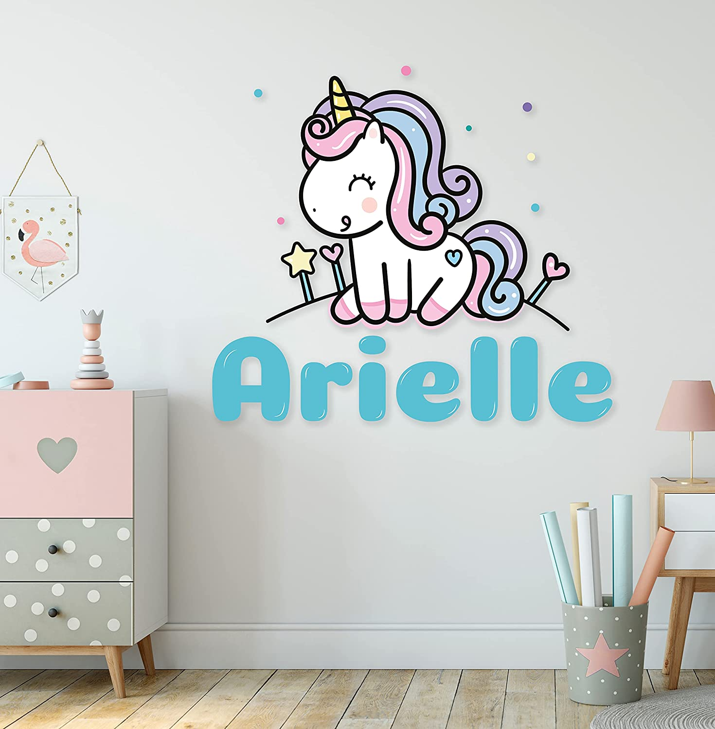Reservation Custom Name Cute Unicorn Max 62% OFF with Rainbow Wall Prime Stickers - Seri