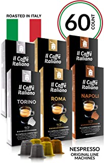 Il Caffé Italiano Coffee, Capsules Compatible with Nespresso OriginalLine, Certified Genuine Mama Mia Strong Intensity Pack, 60 Espresso Pods, Roasted in Messina, Italy, Happiness Guaranteed
