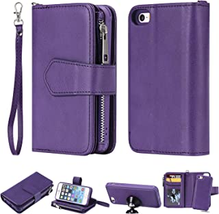 Maoerdo iPhone SE/iPhone 5S Wallet Case with Wrist Strap Flip 6-Slots Card Holder Slim Back Cover [Zipper Coin Pocket] Leather Kickstand Phone Case for Apple iPhone 5 /iPhone SE/iPhone 5S - Violet