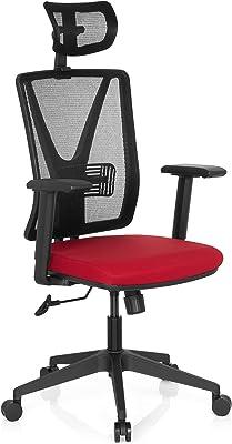 hjh OFFICE 731409 silla de escritorio CARLOW PRO tejido de malla rojo silla de oficina silla