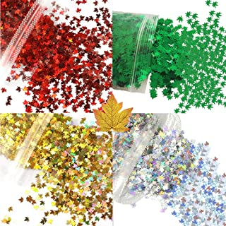 40 Grams 4 Colors Maple Leaf Glitter Green Leaf Cosmetic Glitter, Festival Rave Beauty Makeup Face Body Nail with Tweezers, Make Up DIY Decal for Face Body Hair